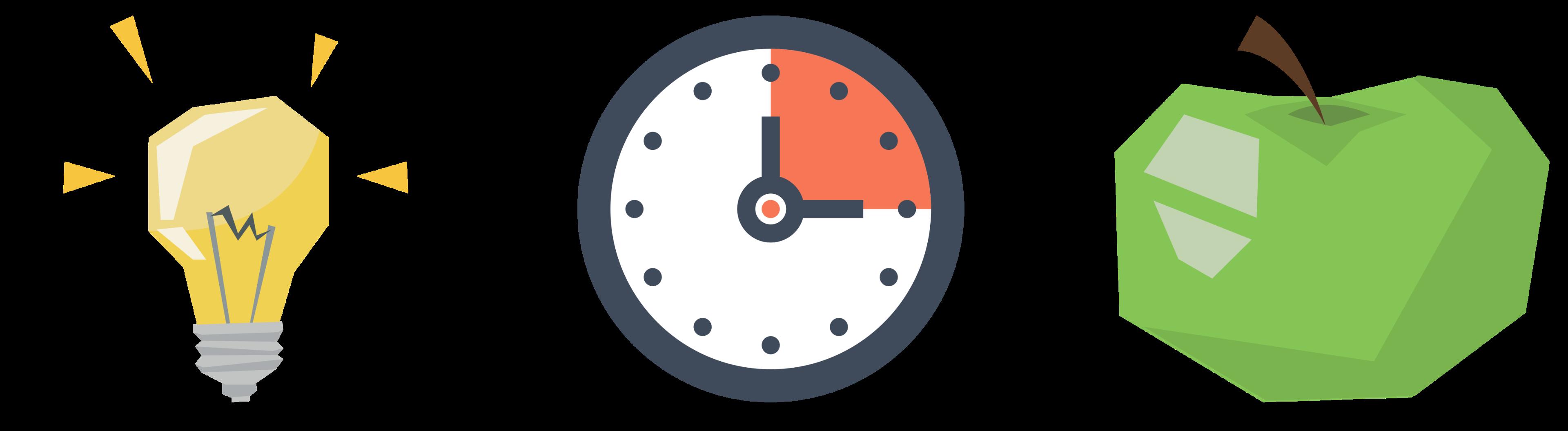 Grafik-Symbole für Simple, Schnell und Knackig