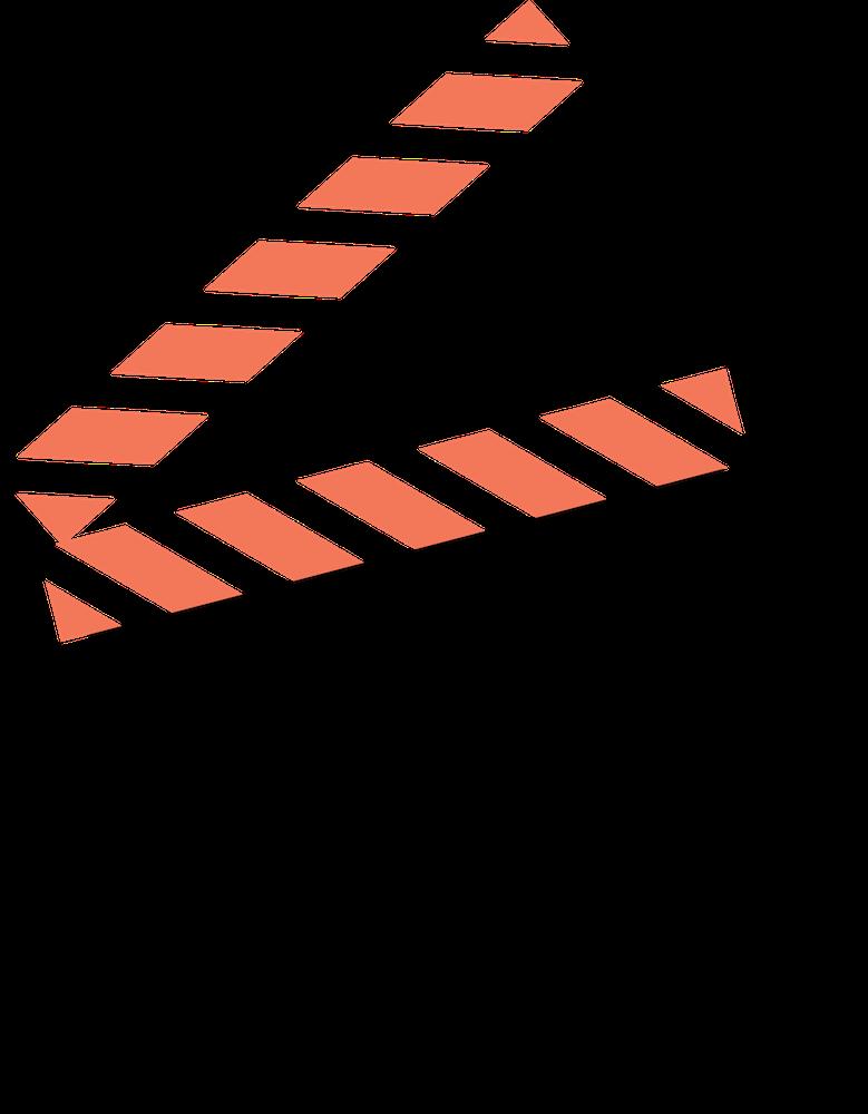 Grafiksymbol einer Filmklappe in schwarz