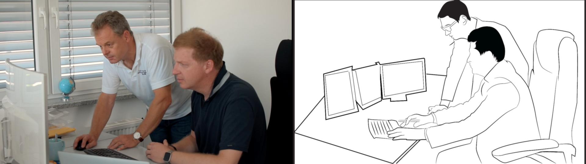 Storyboard bei Alva Studios mit Lake Fusion Technologies - links das Endergebnis und rechts die Zeichnung