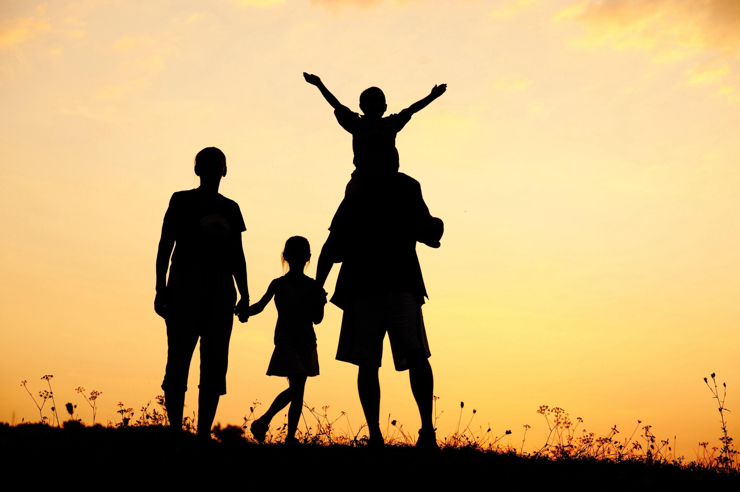 Glückliche Familie auf einer Wiese bei einem Sonnenuntergang