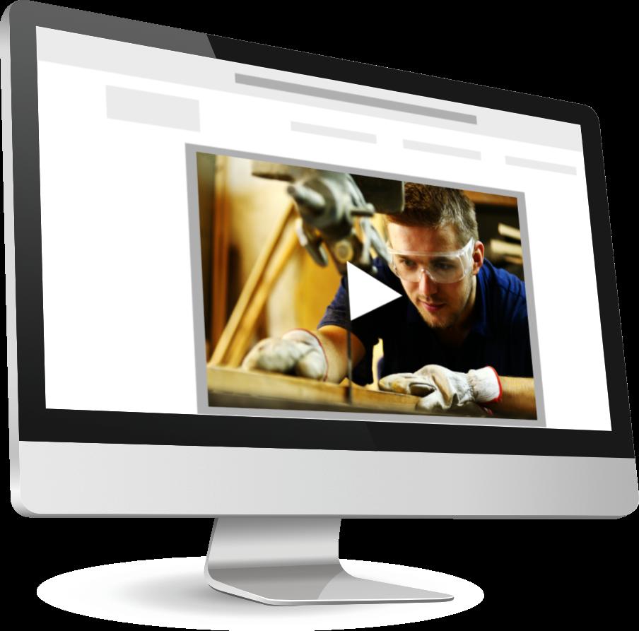 iMac (Computer) auf dem eine Website mit einem implementieren Video zu sehen ist